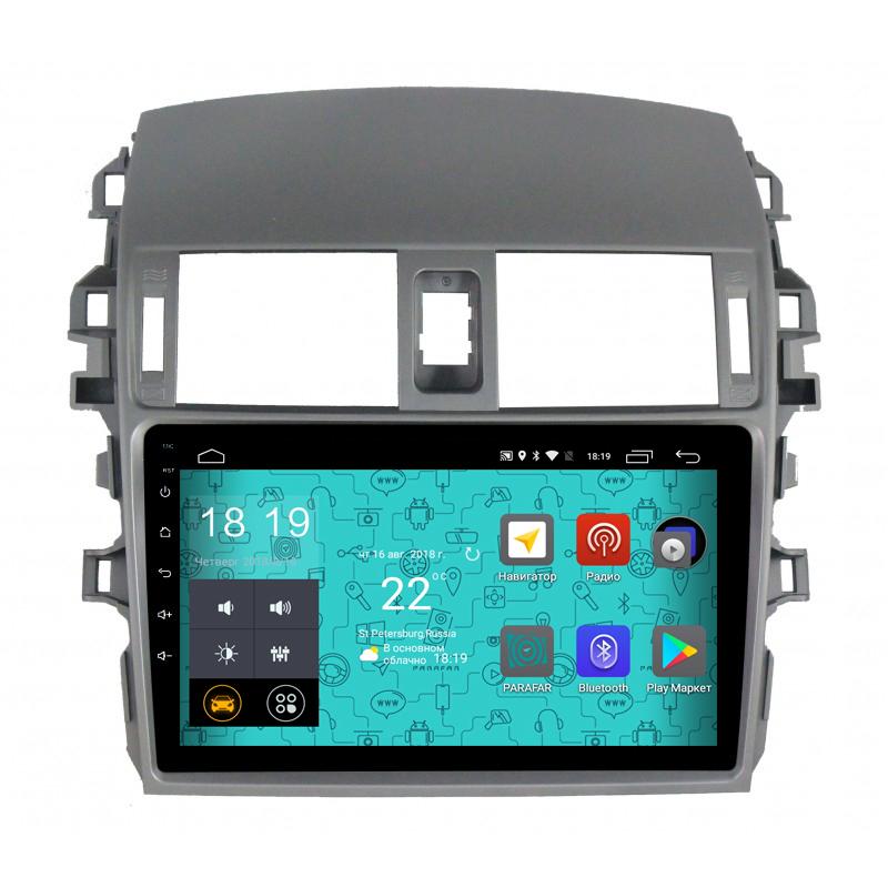 Штатная магнитола Parafar 4G/LTE с IPS матрицей для Toyota Corolla 2007-2012 на Android 7.1.1 (PF974)