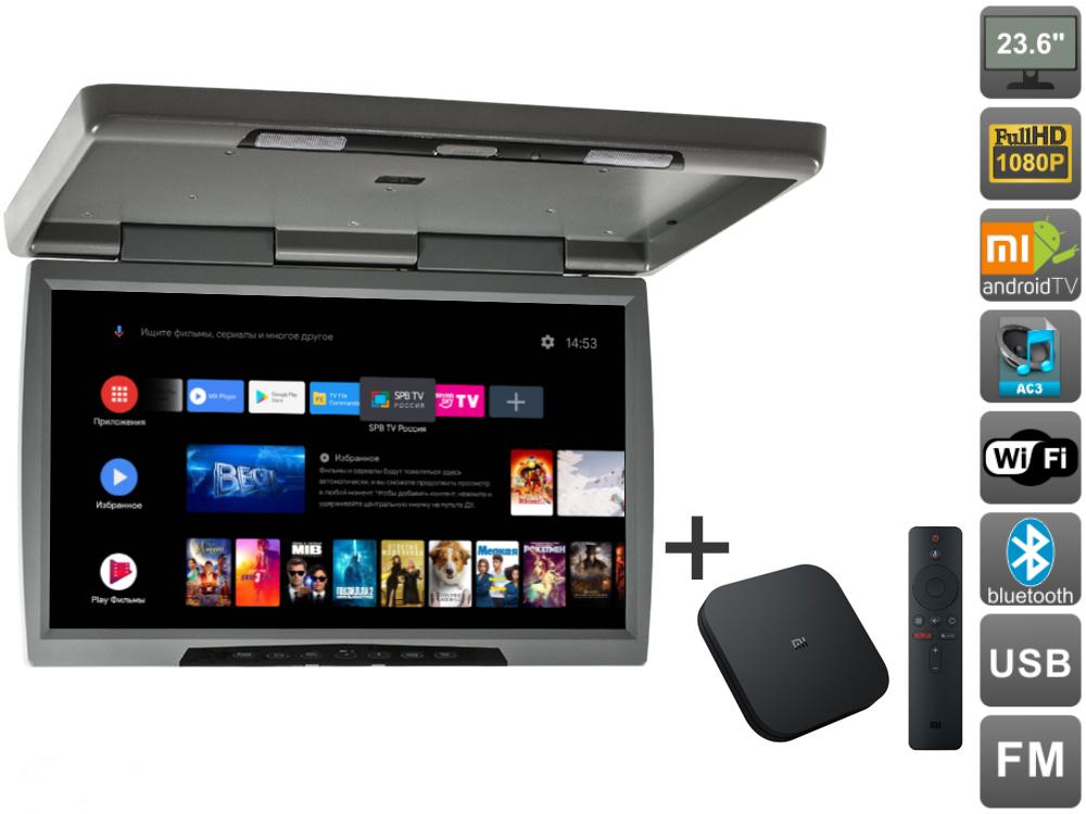Потолочный монитор Avel на Android AVS2230MPP (серый) + Xiaomi Mi Box S + AV120520DC (+ Автомобильные коврики для впитывания влаги в подарок!)