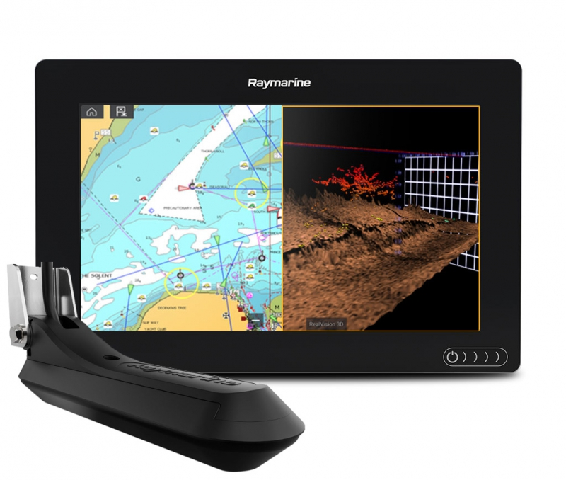 Raymarine AXIOM 9 RV, Multi-function 9 Display with integrated RealVision 3D, 600W Sonar with RV-100 transducer (+ Аккумулятор + З/У + Струбцина + Приманки)