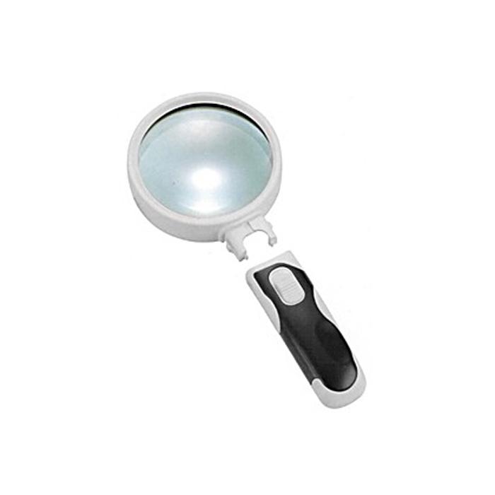 Картинка для Лупа Kromatech ручная круглая 5х, 90 мм, с подсветкой (2 LED), черно-белая 77390B