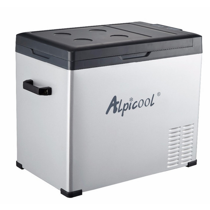 Kомпрессорный автохолодильник ALPICOOL C50Alpicool<br>Переносной холодильник-морозильник!<br> Для условий повышенной вибрации - в автомобиле, на водном транспорте.<br> Облегченный алюминиевый корпус.<br> Несколько вариантов открытия верхней крышки.<br>Напряжение DC 12/24В и AC 220-240В.<br> Объем 50 л. Диапазон температур + 20 ? до -20 ?. Вес: 16,5 кг. Размеры 490х365х575 мм.