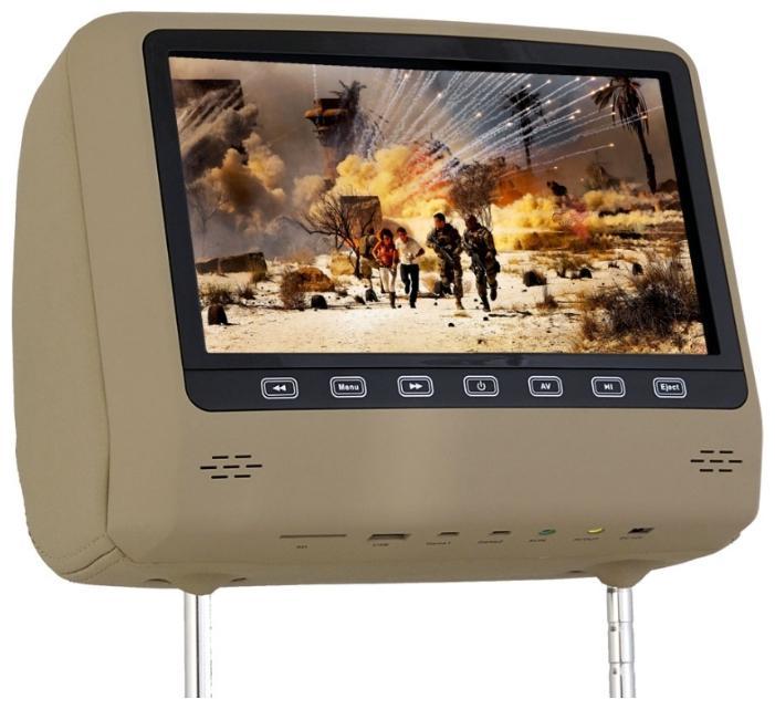 Подголовник с монитором 9 и встроенным DVD плеером FarCar-Z007 (Biege) (+ Двухканальные наушники в подарок!)