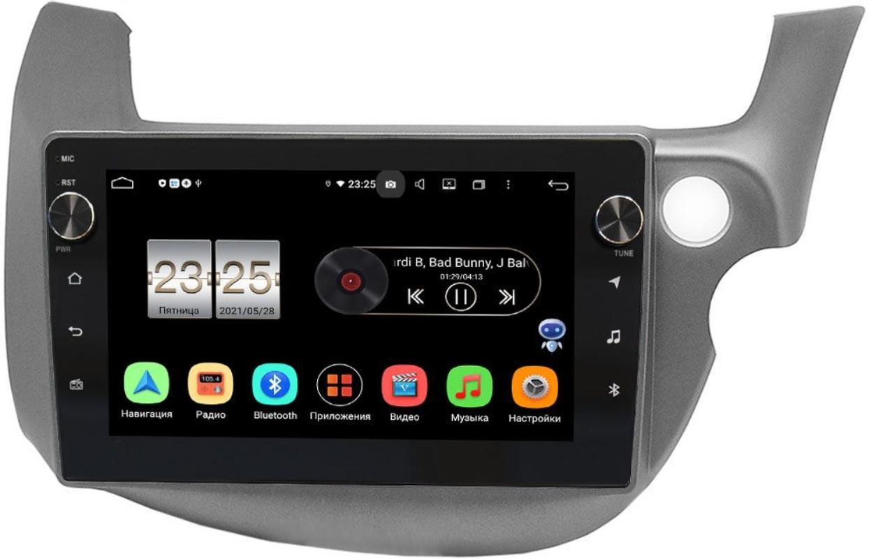 Штатная магнитола LeTrun BPX409-3186 для Honda Fit II 2008-2014 на Android 10 (4/32, DSP, IPS, с голосовым ассистентом, с крутилками) (темно-серая) (+ Камера заднего вида в подарок!)