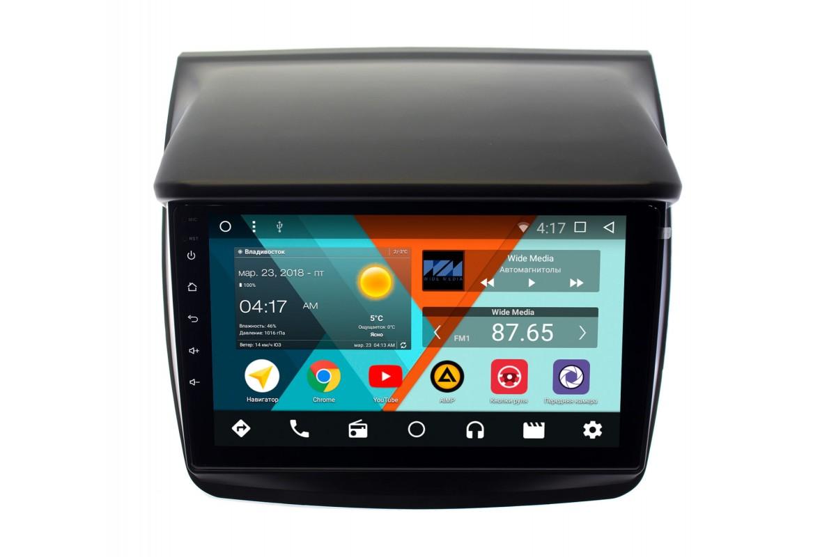 Штатная магнитола Mitsubishi Pajero Sport II 2008-2013, L200 IV 2006-2015 Wide Media CF9057-OM-4/64 на Android 9.1 (TS9, DSP, 4G SIM, 4/64GB) для авто без Navi (+ Камера заднего вида в подарок!)