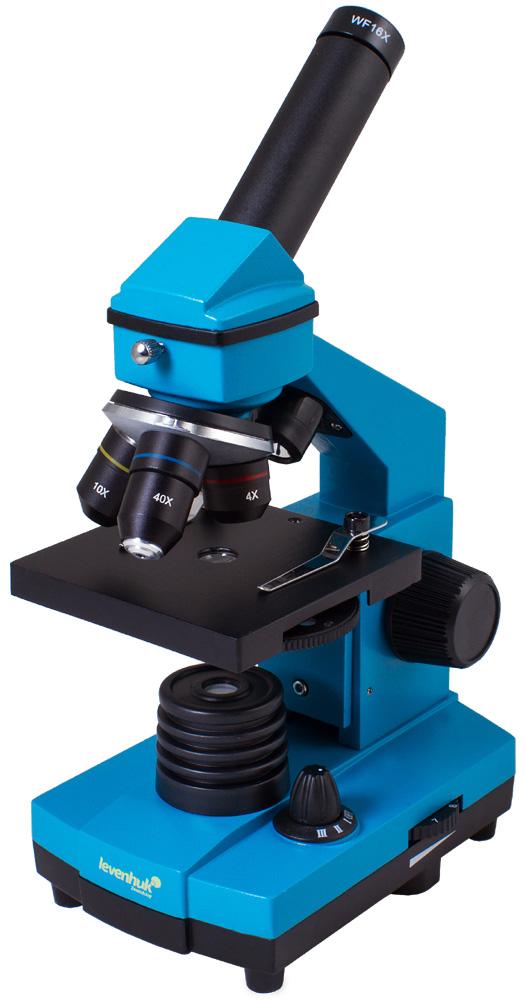 Микроскоп Levenhuk Rainbow 2L PLUS Azure\ЛазурьМикроскопы<br>Качественная оптика, надежность и необычный дизайн. В комплекте набор для опытов. Увеличение: 64–640 крат