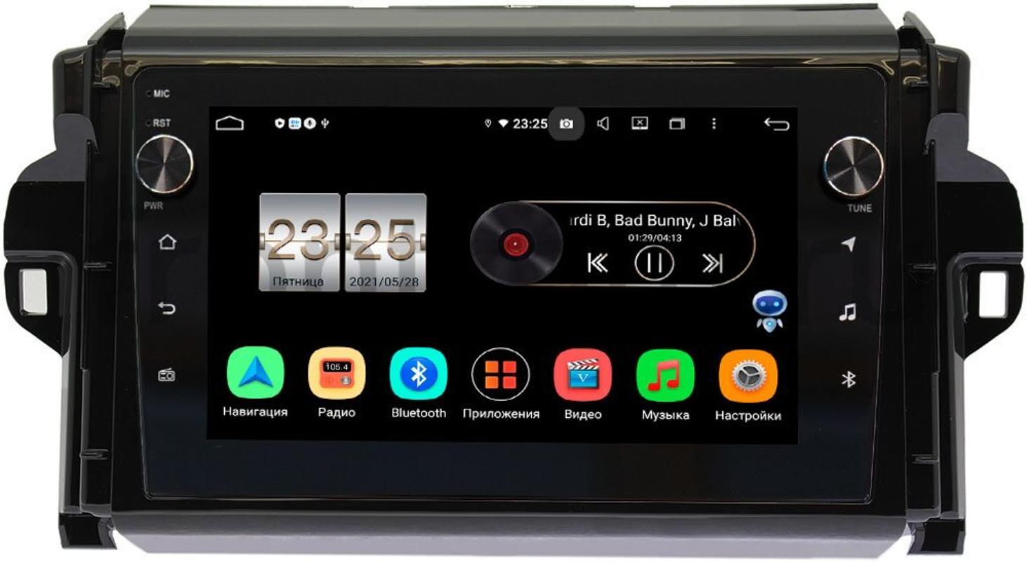 Штатная магнитола Toyota Fortuner II 2015-2020 LeTrun BPX609-9106 на Android 10 (4/64, DSP, IPS, с голосовым ассистентом, с крутилками) (+ Камера заднего вида в подарок!)