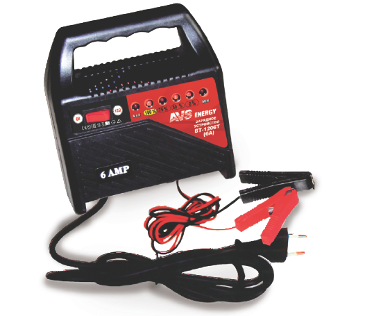Устройство зарядное универсальное АКБ AVS Energy BT-1206T (6/12В, 6А) пуско зарядное устройство агрессор agr sbc 040 brick 9 фаз зарядки ток зарядки 4а для 6v 12v акб