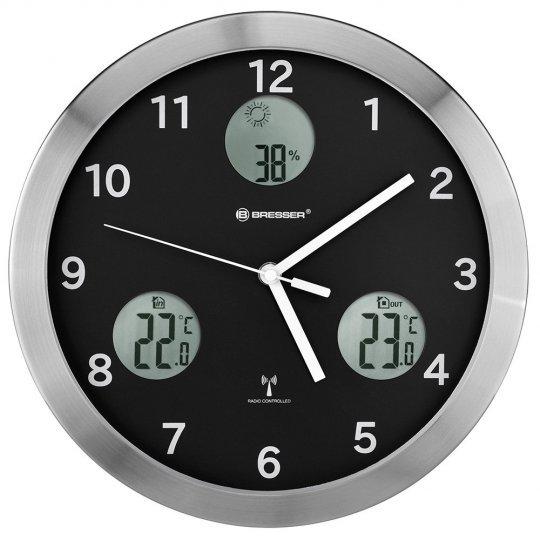 Метеостанция (настенные часы) Bresser MyTime io, 30 см, черная (+ Салфетки из микрофибры в подарок)