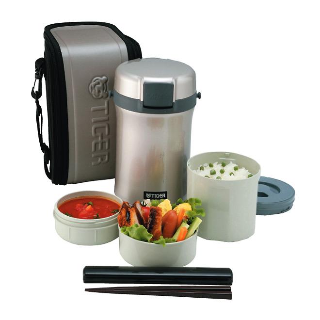 Термос для еды с контейнерами Tiger LWU-B200 Warm Silver (+ Поливные капельницы в подарок!) термос для еды с контейнерами tiger lwu a171 charcoal gray 0 61л 0 34л 0 27л палочки для еды в чехле регулируемый наплечный ремень