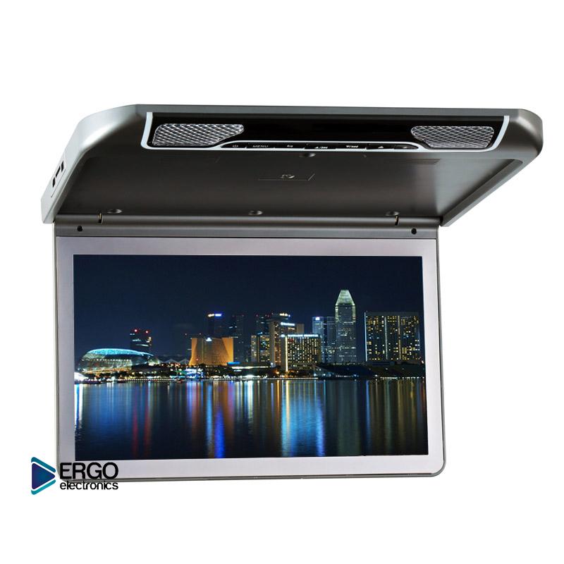 Автомобильный потолочный монитор 13.3 со встроенным Full HD медиаплеером ERGO ER13S (серый) (+ Двухканальные наушники в подарок!)
