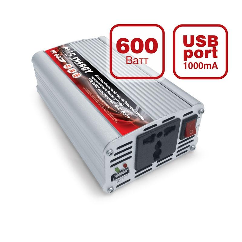 Преобразователь напряжения автомобильный AVS IN-600W-24 (24В  220В, 600 Вт, USB)