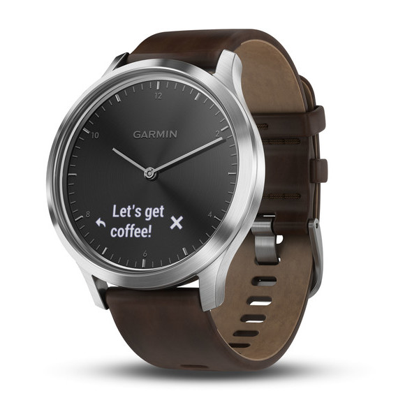 Garmin Vivomove HR серебряные с темно-коричневым кожаным ремешком garmin vivomove premium со стальным корпусом и кожаным ремешком золотистые