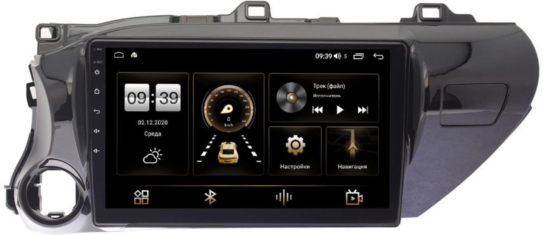 Штатная магнитола Toyota Hilux VIII 2015-2021 LeTrun 4165-1056 на Android 10 (4G-SIM, 3/32, DSP, QLed) (для любой комплектации) (+ Камера заднего вида в подарок!)