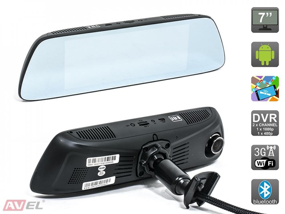 """Зеркало заднего вида AVS0399DVR с сенсорным монитором 7"""", двухканальным видеорегистратором и навигатором на ОС Android"""