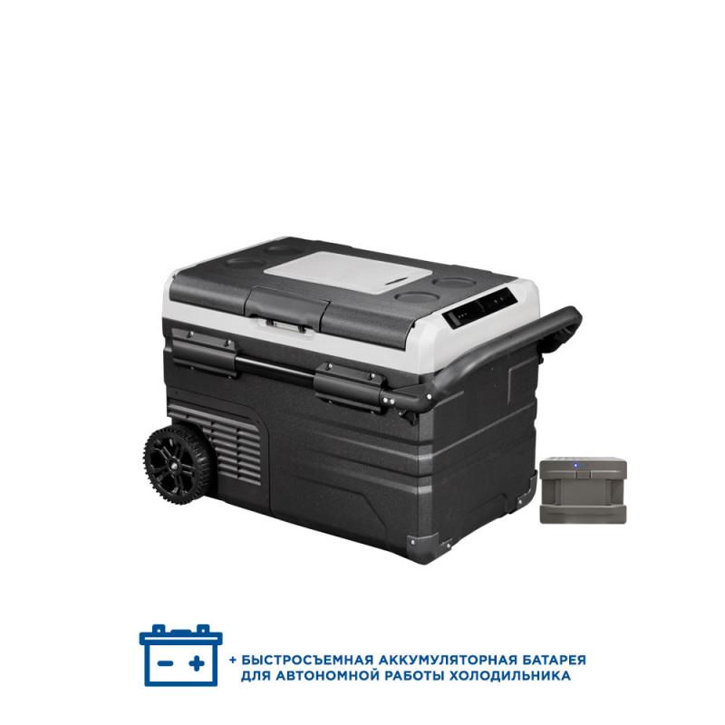 Двухкамерный компрессорный автохолодильник Alpicool ETWW35 с батареей (12/24/110/220) (+ Аккумулятор холода в подарок!).
