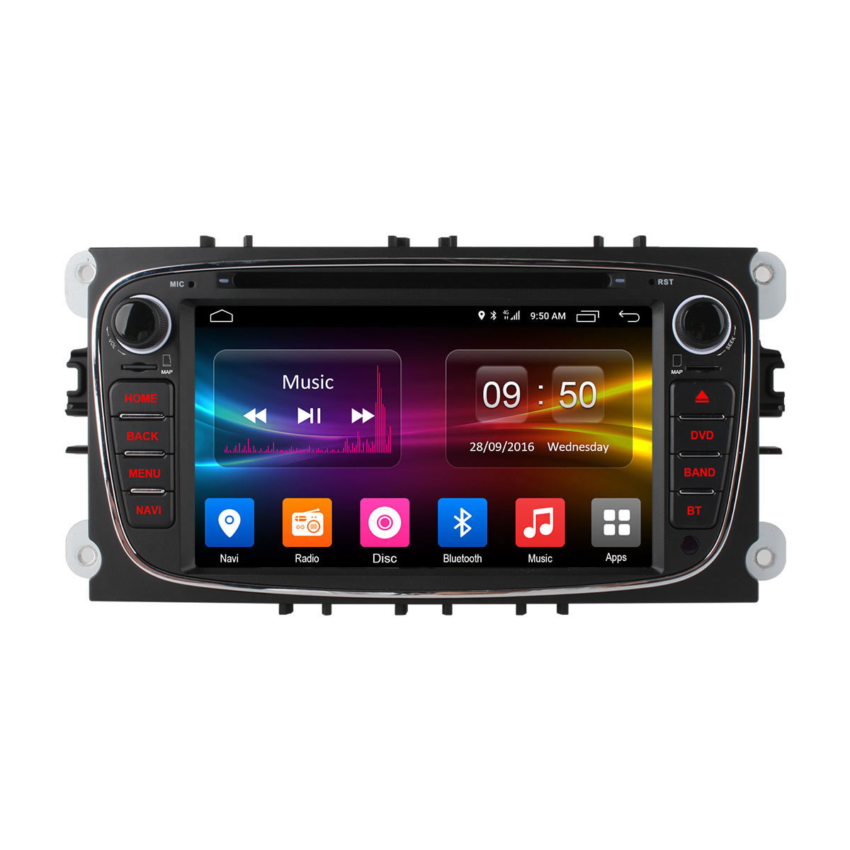 Штатная магнитола CARMEDIA OL-7202-8 (C500+) Ford Focus II, Mondeo, S-MAX, Galaxy, Tourneo/Transit Connect (цвет панели: черный)