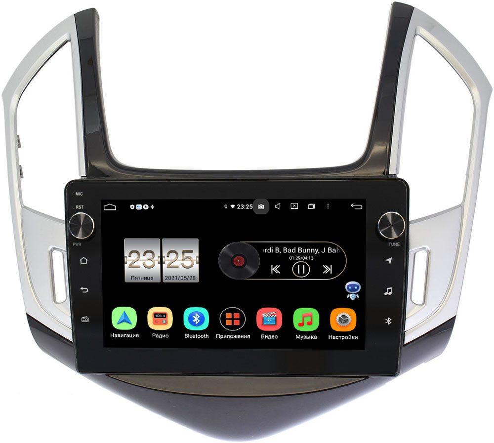 Штатная магнитола LeTrun BPX409-9265 для Chevrolet Cruze I 2012-2015 (черно-серый глянец) на Android 10 (4/32, DSP, IPS, с голосовым ассистентом, с крутилками) (+ Камера заднего вида в подарок!)