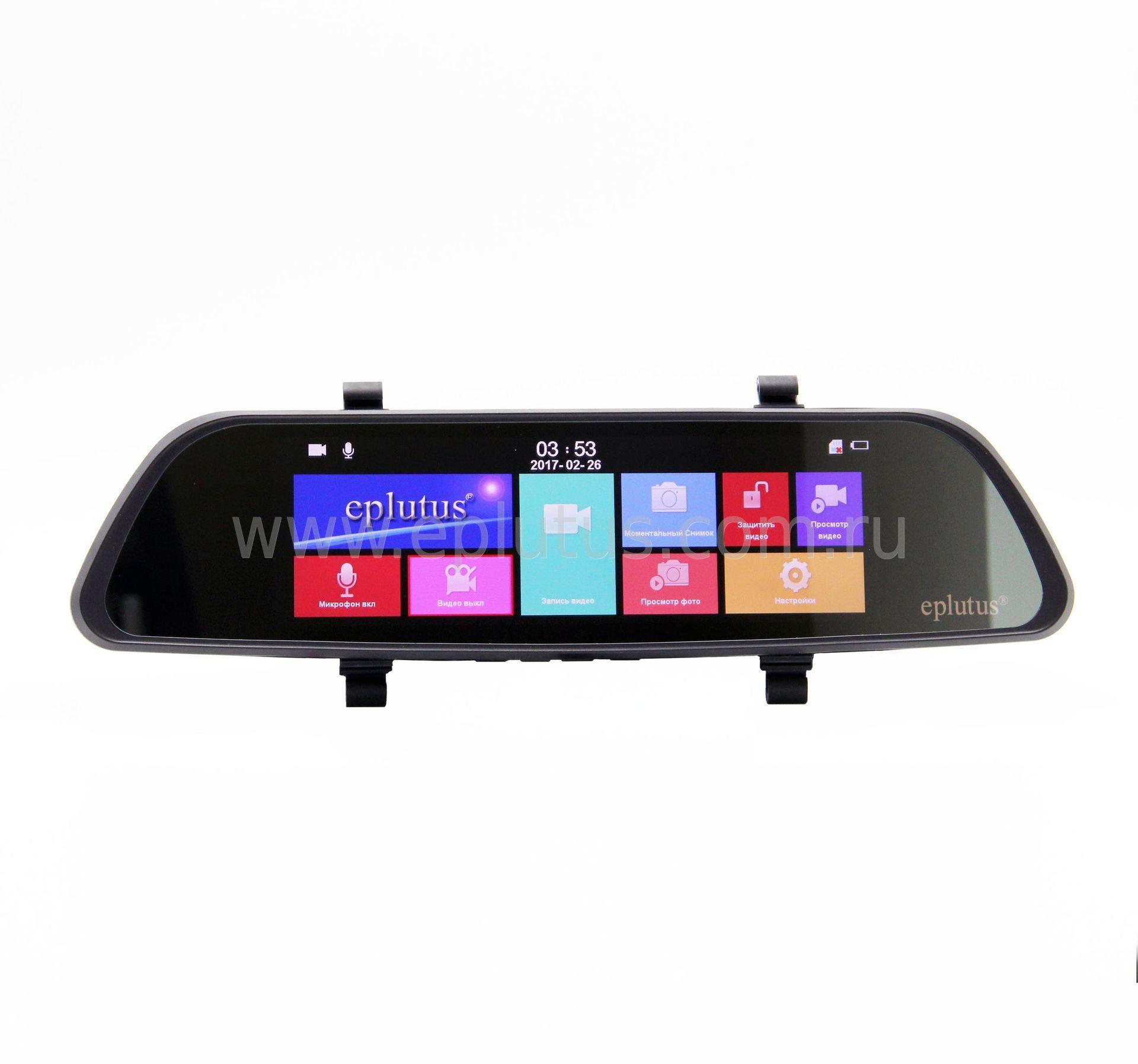 Автомобильный видеорегистратор-зеркало с 2-мя камерами и сенсорным экраном Eplutus D80 автомобильный телевизор eplutus ep 192t