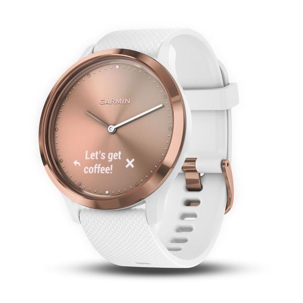 Garmin Vivomove HR розовое золото с белым ремешком garmin смарт часы vivofit slate hrm1