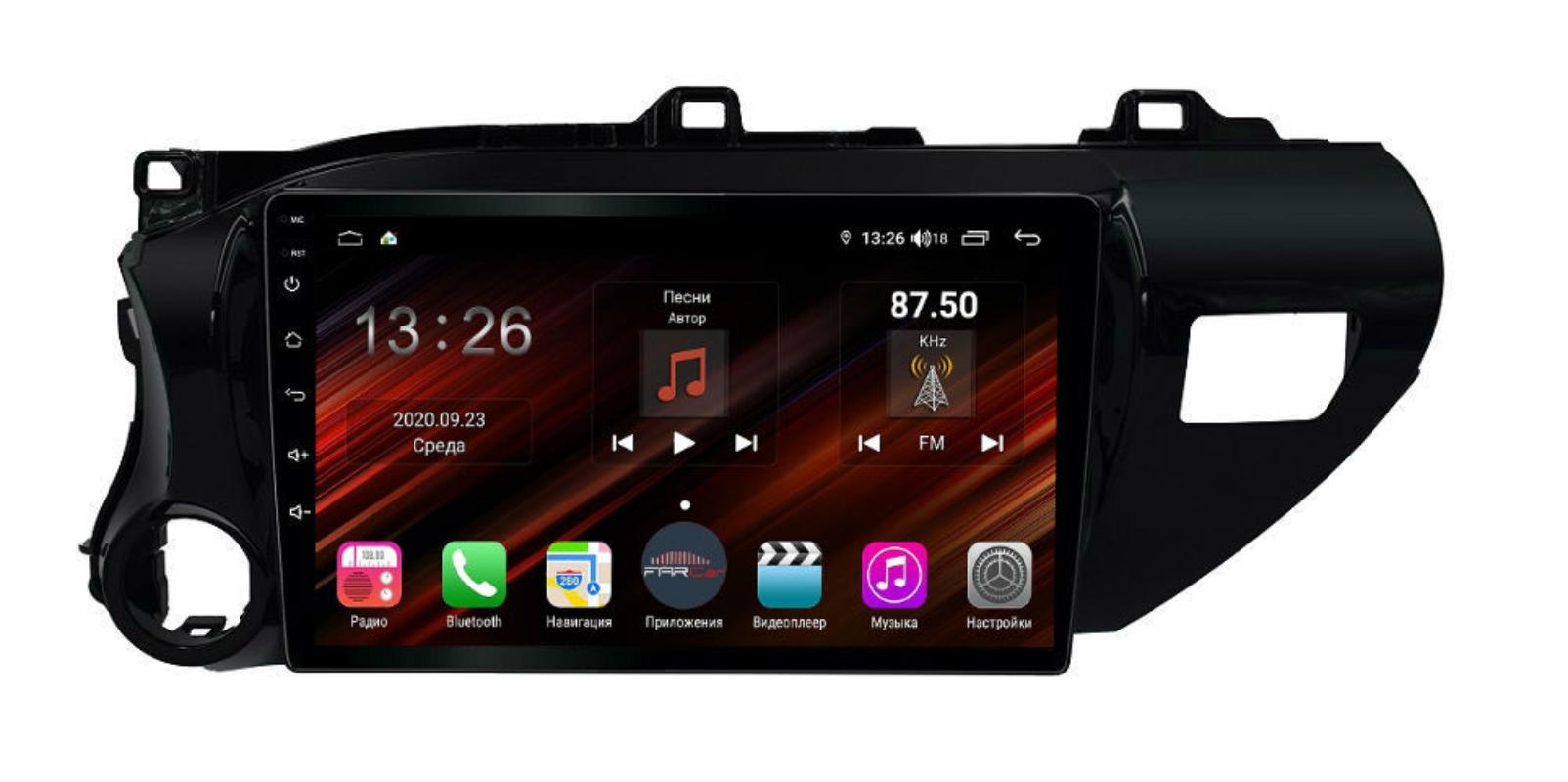 Штатная магнитола FarCar s400 Super HD для Toyota Hilux на Android (XH1077R) (+ Камера заднего вида в подарок!)