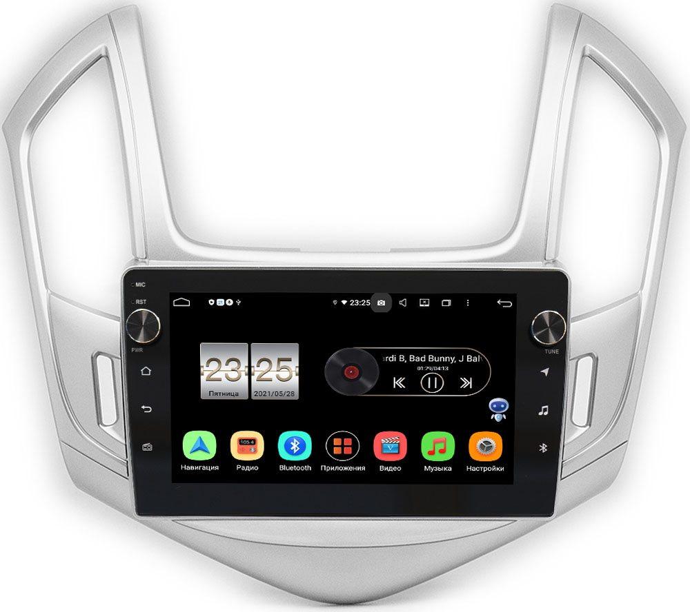 Штатная магнитола Chevrolet Cruze I 2012-2015 (серебро) LeTrun BPX409-9-242 на Android 10 (4/32, DSP, IPS, с голосовым ассистентом, с крутилками) (+ Камера заднего вида в подарок!)