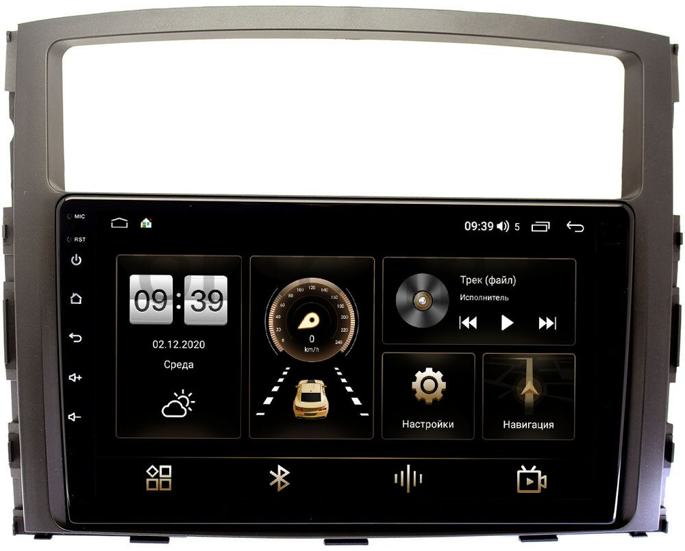 Штатная магнитола Mitsubishi Pajero IV 2006-2021 для авто без Rockford LeTrun 4166-9069 на Android 10 (4G-SIM, 3/32, DSP, QLed) (+ Камера заднего вида в подарок!)