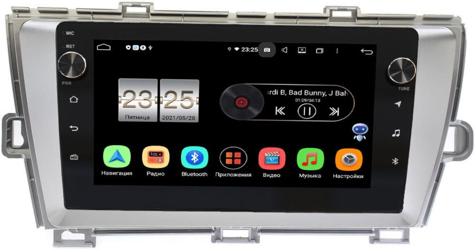 Штатная магнитола LeTrun BPX409-9092 для Toyota Prius III (XW30) 2009-2015 (правый руль) серебро на Android 10 (4/32, DSP, IPS, с голосовым ассистентом, с крутилками) (+ Камера заднего вида в подарок!)