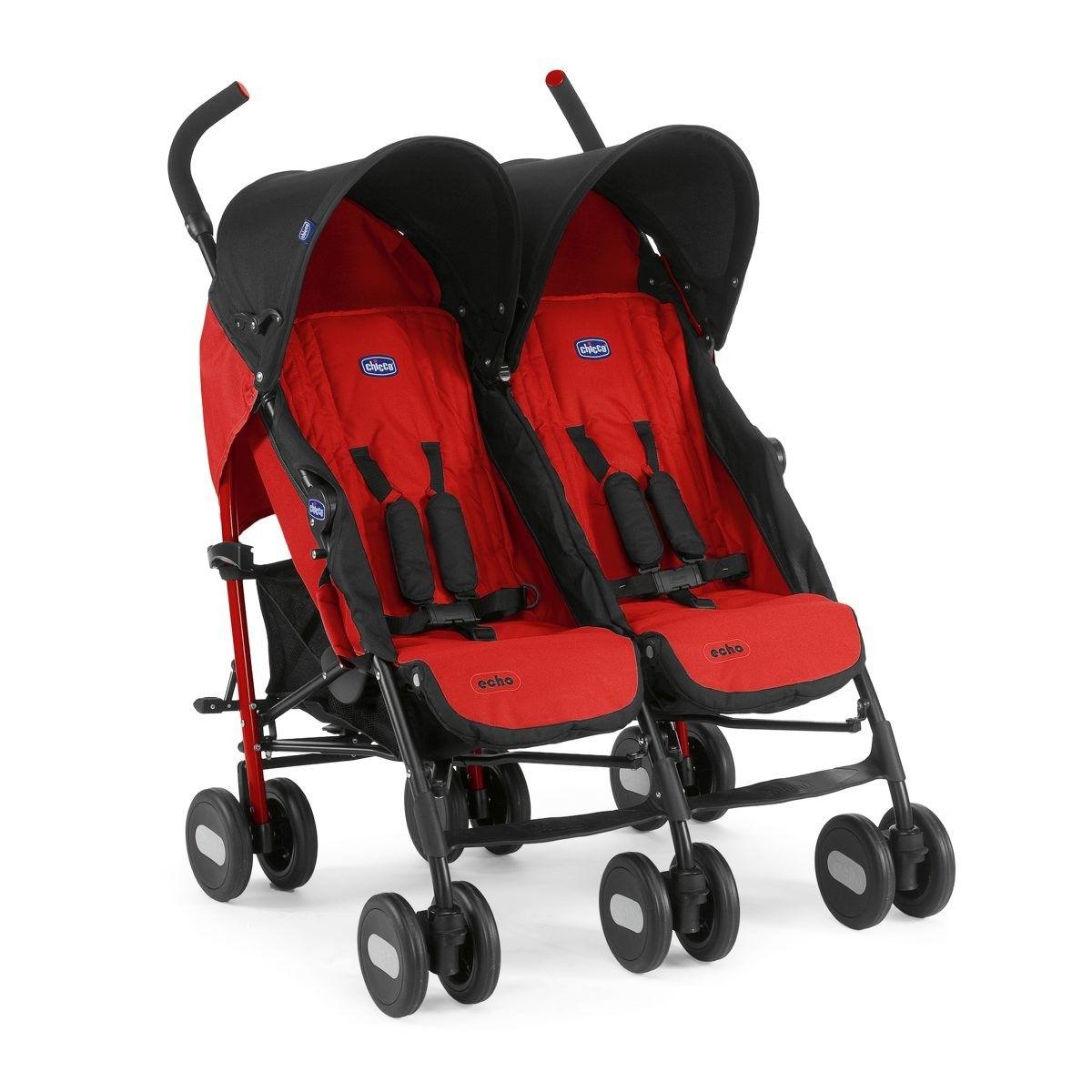 Картинка для Коляска для двойни Chicco Echo Twin Stroller Garnet (+ Защитный чехол СМЕШАРИКИ в подарок!)