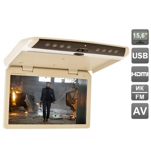 Автомобильный потолочный монитор 15.6 со встроенным FULL HD медиаплеером Avis AVS1550MPP (Бежевый) (+ беспроводные наушники в подарок!) автомобильный потолочный монитор 17 3 daystar pd1707fl бежевый 1920x1080 android