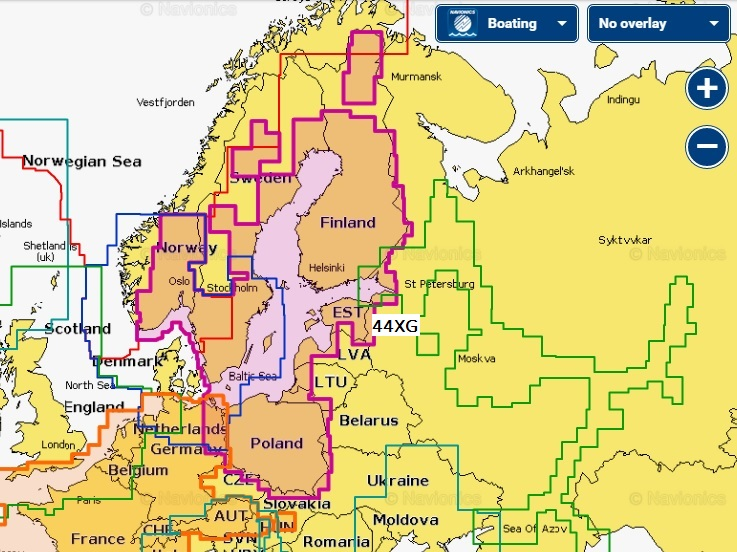 Navionics Plus 44XG Балтийское море на карте 8 Гб