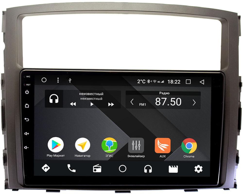 Штатная магнитола Mitsubishi Pajero IV 2006-2019 для авто без Rockford Wide Media CF9069-OM-4/64 на Android 9.1 (TS9, DSP, 4G SIM, 4/64GB) (+ Камера заднего вида в подарок!)