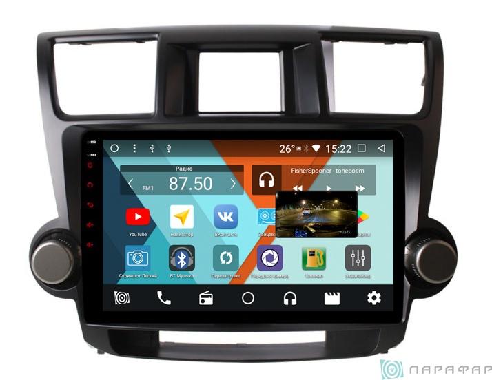 Штатная магнитола Parafar с IPS матрицей для Toyota Highlander 2007-2012 на Android 8.1.0 (PF035K)