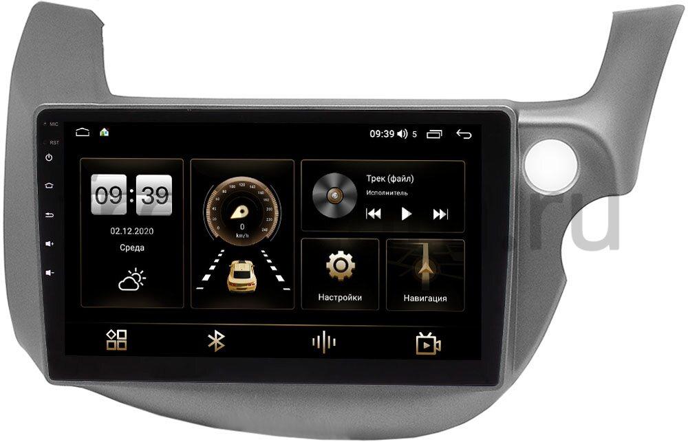 Штатная магнитола LeTrun 4166-9-3186 для Honda Fit II 2008-2014 на Android 10 (4G-SIM, 3/32, DSP, QLed) (темно-серая) (+ Камера заднего вида в подарок!)