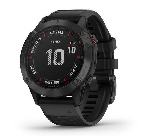Черные часы Garmin Fenix 6 PRO с черным ремешком.