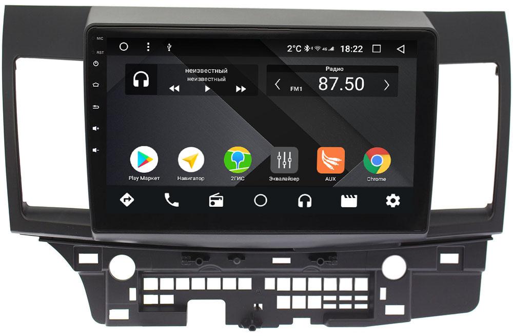 Штатная магнитола Mitsubishi Lancer X 2007-2018 для авто без Rockford Wide Media CF1021-OM-4/64 на Android 9.1 (TS9, DSP, 4G SIM, 4/64GB) (+ Камера заднего вида в подарок!)