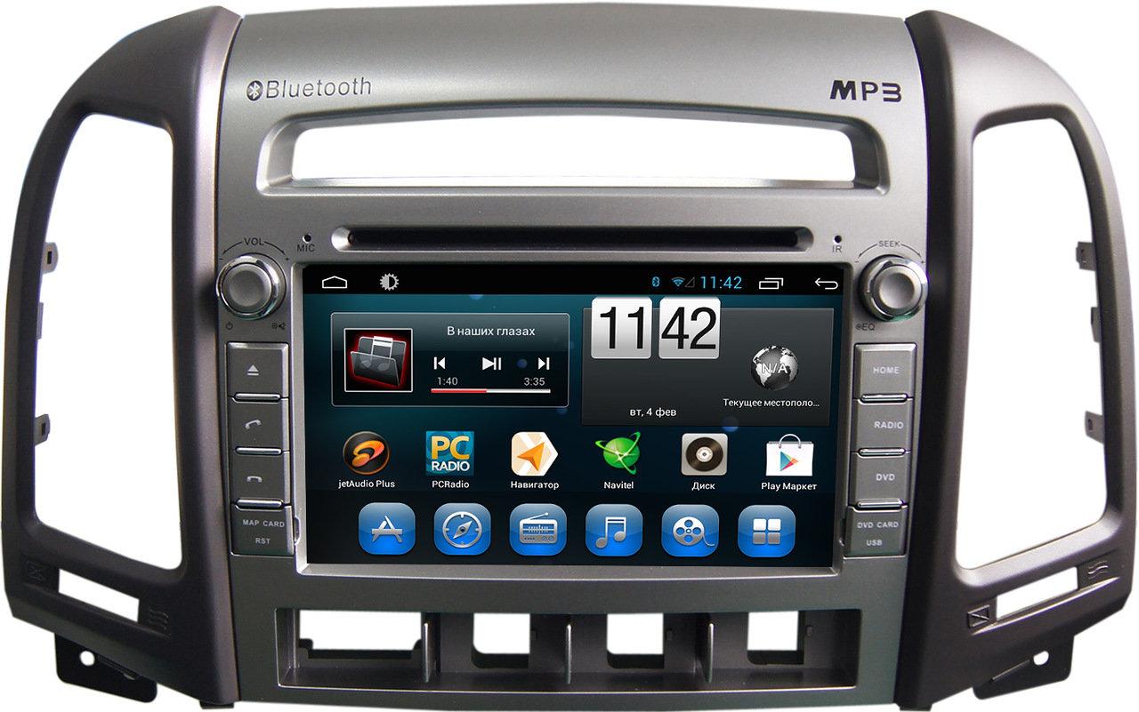 Штатная магнитола для Hyundai Santa Fe II 2006-2010 (4 кнопки) CARMEDIA KR-7031-4-T8 на Android 7.1 (+ камера заднего вида) штатная магнитола carmedia kr 7093 t8 для hyundai ix35 2010 2015 android 7 1 2 камера заднего вида