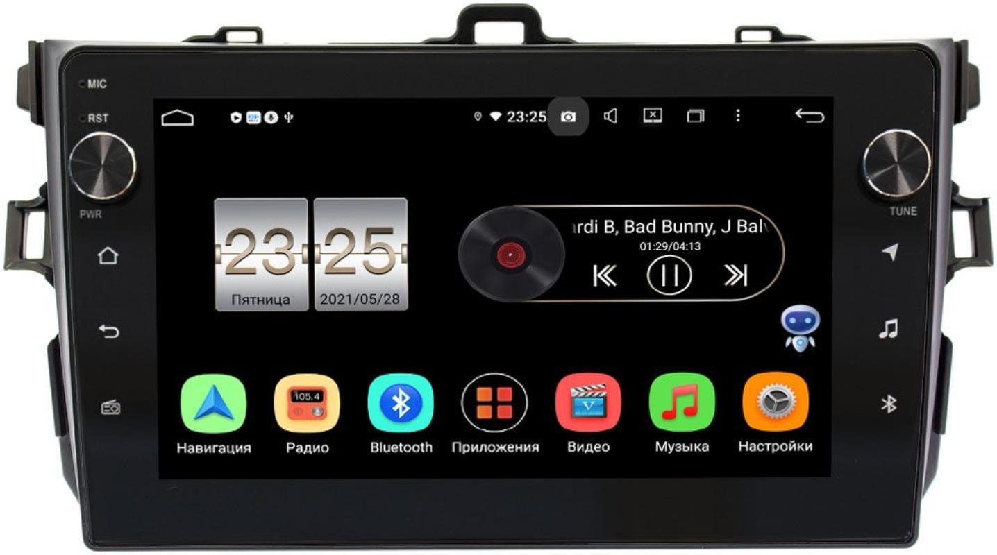 Штатная магнитола Toyota Corolla X 2006-2013 (черная, без воздуховодов) LeTrun BPX409-9094 на Android 10 (4/32, DSP, IPS, с голосовым ассистентом, с крутилками) (+ Камера заднего вида в подарок!)