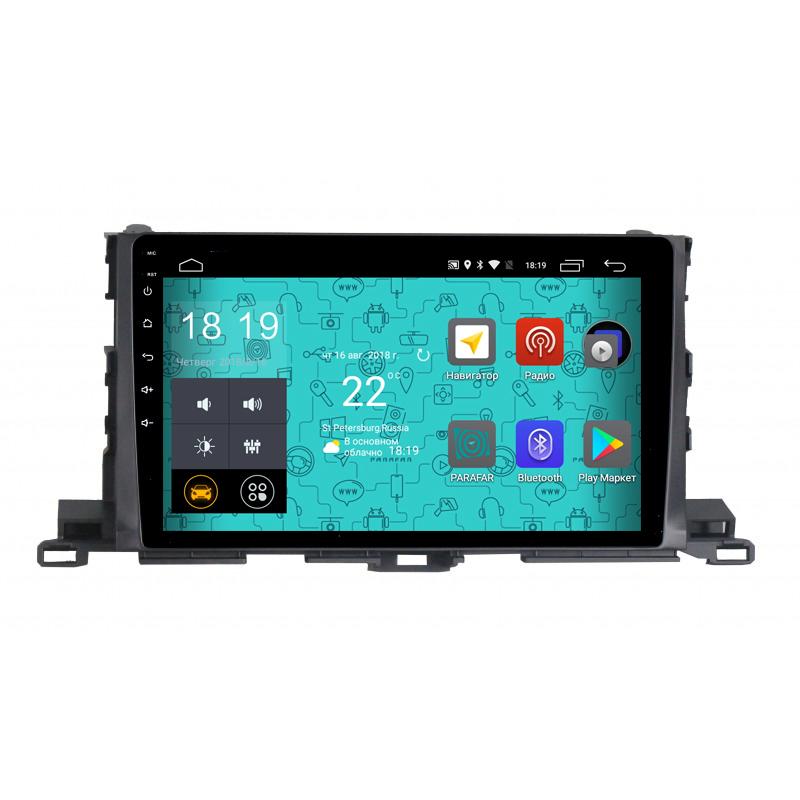 Штатная магнитола Parafar 4G/LTE с IPS матрицей для Toyota Highlander 2013+ на Android 7.1.1 (PF467) (+ Камера заднего вида в подарок!) штатная магнитола parafar с ips матрицей для toyota land cruiser 200 на android 8 1 0 pf567k