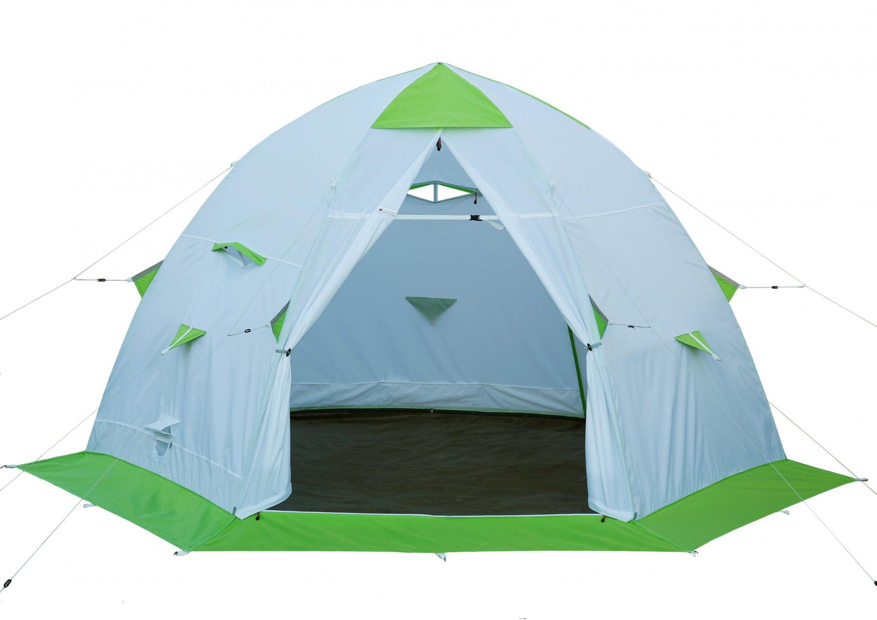 Зимняя палатка Лотос 5С (пол ПУ4000) укомплектована каркасом Л5-С12 (стеклокомпозитная арматура 12 мм), системой крепления пола и съемным влагозащитным полом ПУ4000 (+ Дарим комплект ввертышей для палаки.)