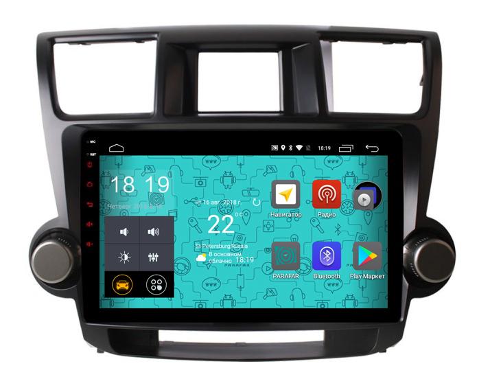 Штатная магнитола Parafar 4G/LTE с IPS матрицей для Toyota Highlander 2007-2012 на Android 7.1.1 (PF035) (+ Камера заднего вида в подарок!)