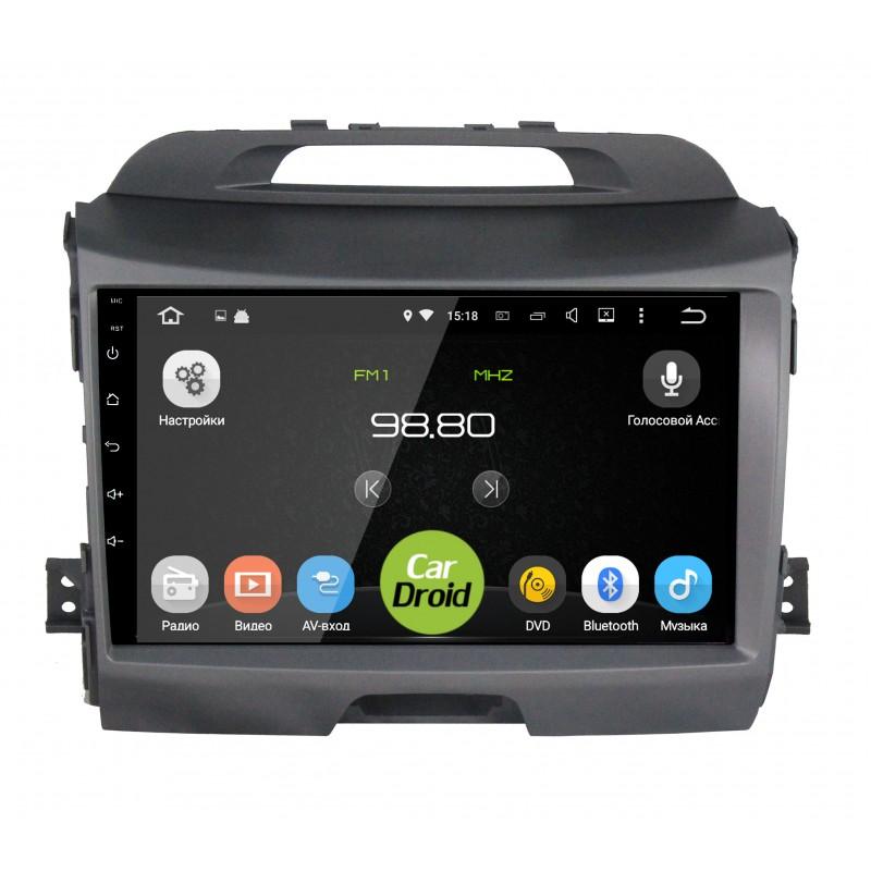 Фото - Штатная магнитола CarDroid RD-2313F-N10 для KIA Sportage 3 (Android 9.0) DSP (+ Камера заднего вида в подарок!) штатная магнитола cardroid rd 2310d m18 для kia optima 2018 android 8 0 dsp камера заднего вида в подарок