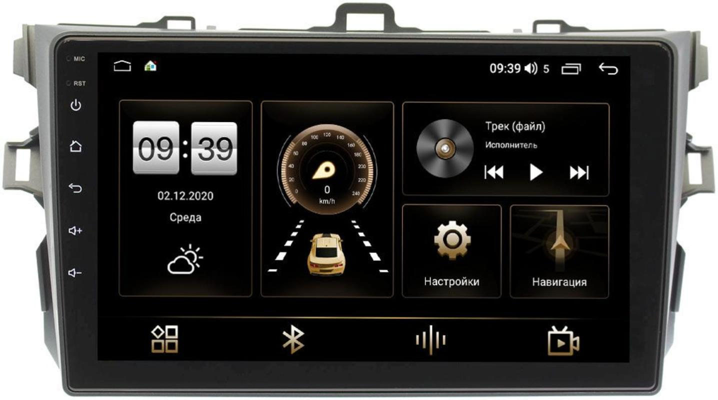 Штатная магнитола Toyota Corolla X 2006-2013 (антрацит, без воздуховодов) LeTrun 4166-9038 на Android 10 (4G-SIM, 3/32, DSP, QLed) (+ Камера заднего вида в подарок!)