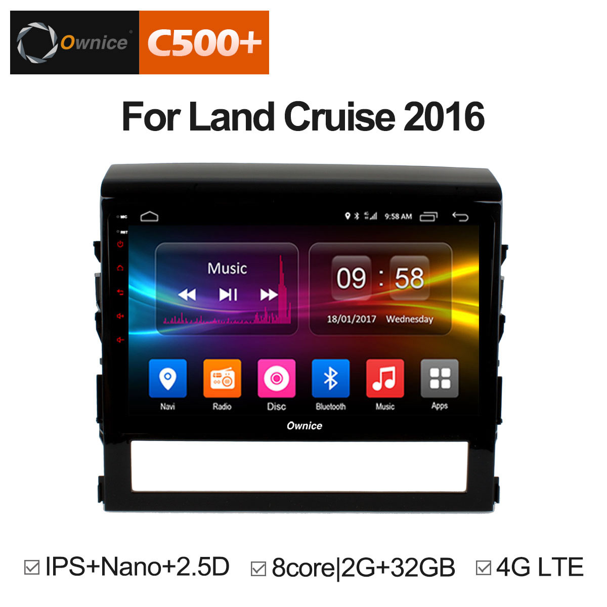 Штатная магнитола CARMEDIA OL-9618-8 (C500+) Toyota Land Cruiser 200 10.2015+ lsqstar 8 android4 0 capacitive screen car dvd player w gps fm bt wifi swc tv aux for toyota prius