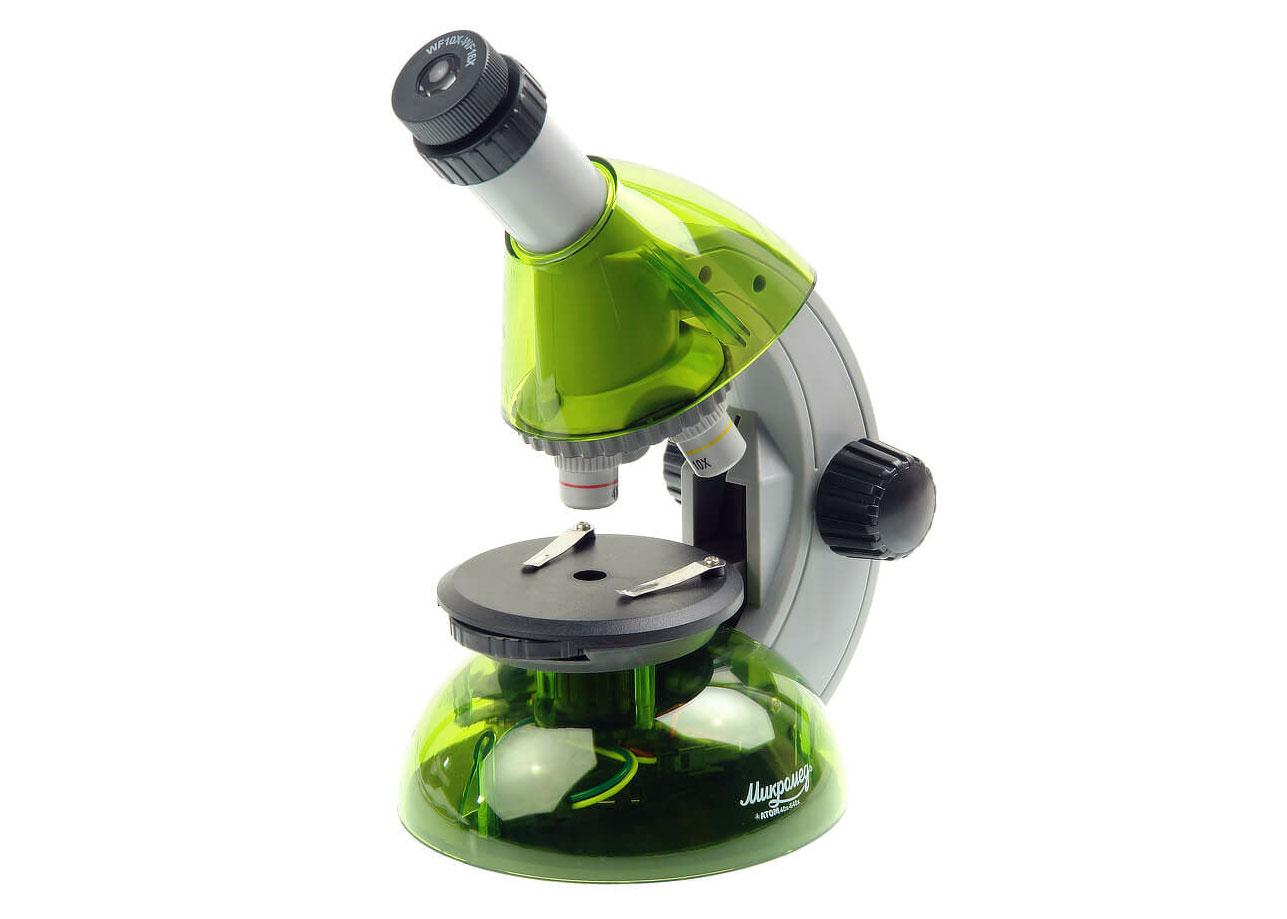 Фото - Микроскоп Микромед «Атом» 40–640x, лайм (+ Салфетки из микрофибры в подарок) микроскоп