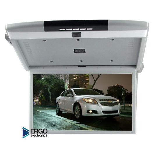 Автомобильный потолочный монитор 17.3 со встроенным Full HD медиаплеером ERGO ER17S (серый) (+ Двухканальные наушники в подарок!)
