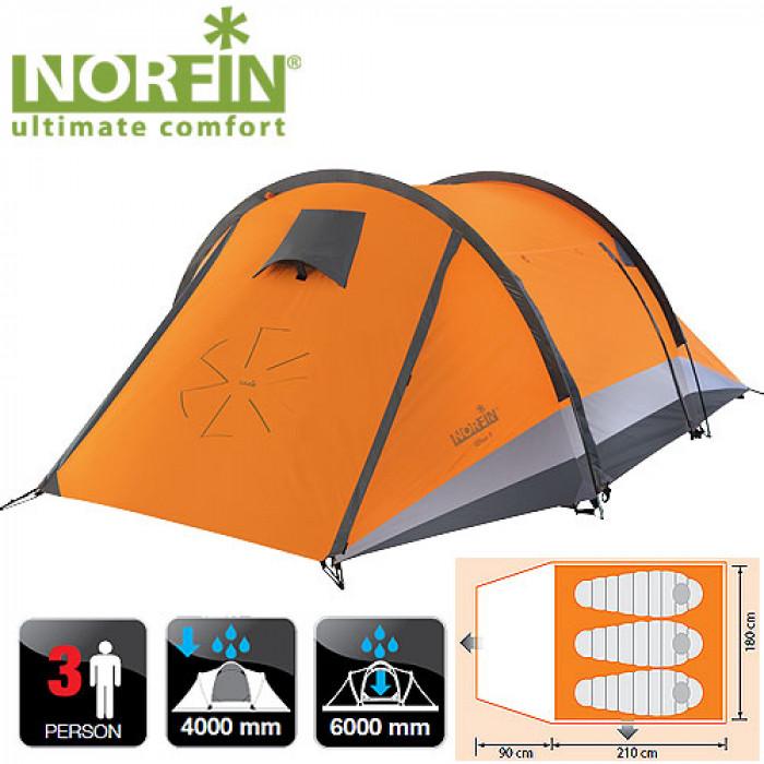 Палатка 3-х местная Norfin GLAN 3 NSПалатки<br>Двухслойная палатка.<br><br><br> карк.FG/наруж.разм(90+210)x180x105см/внутр.разм 210х180х100/вес3,9кг/тр.разм.57х15х15см