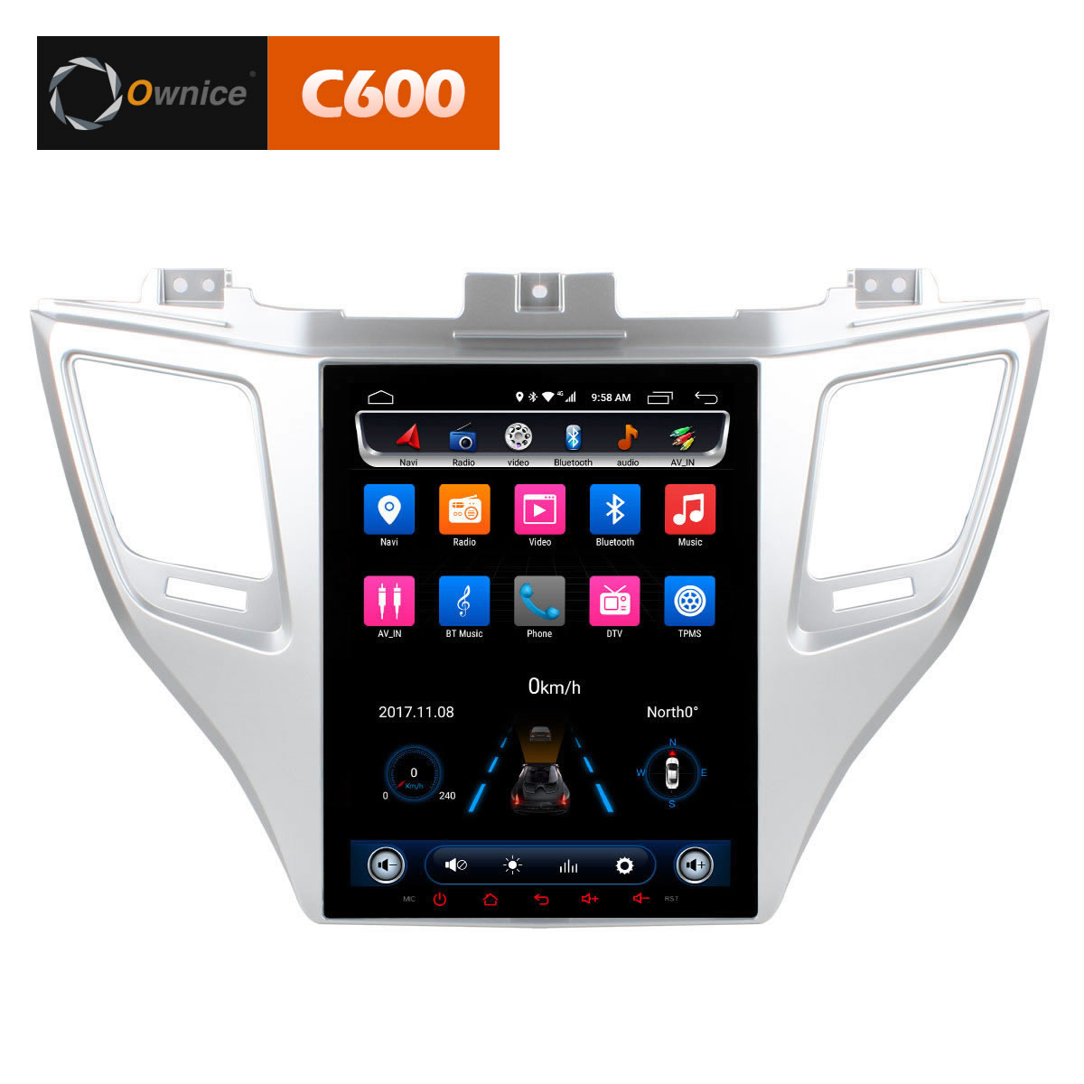 Штатная магнитола CARMEDIA OL-9712-9 Tesla Style (C600+) Hyundai Tucson 2016+ (все комплектации) 9 inch quad core tablet pc a33 atm7029 rom 8g 1024 600 pxl android 4 4 bluetooth fm hdmi android tablet 9 8 7