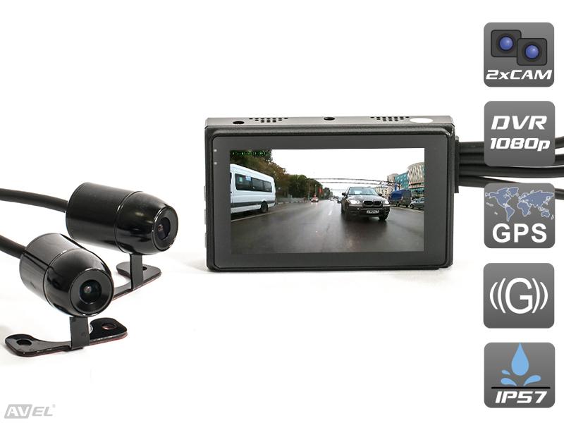Двухканальный видеорегистратор для мотоцикла / квадроцикла / снегохода (Full HD 1080P) Avel AVS1010DVR philips cvr700 full hd 1080p car dash camera with gps logger
