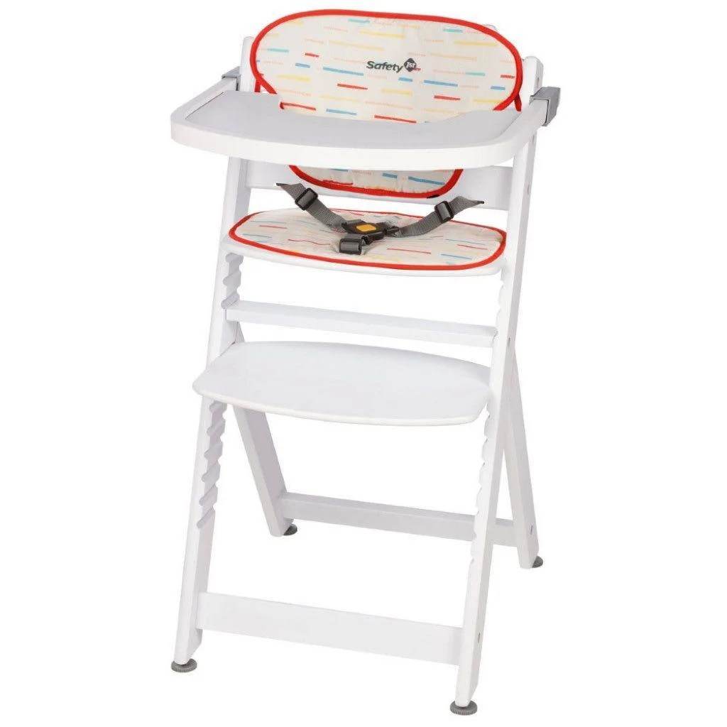Стульчик для кормления Safety 1st Timba + мягкий вкладыш Red Lines/White Wood (+ Антисептик-спрей рук в подарок!)