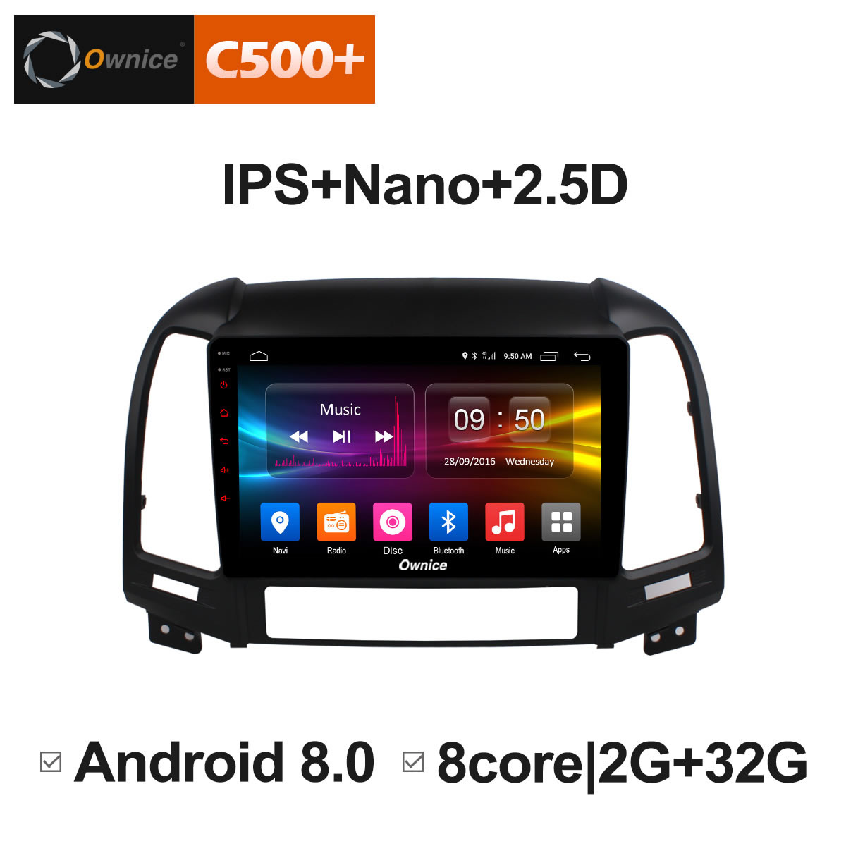 Штатная магнитола CARMEDIA OL-9717 (Ownice C500+) Hyundai Santa Fe 2010-2012 (рамка 3 и 4 кнопки) ourspop u07 quad core android 4 2 2 google tv player w 2gb ram 8gb rom rc11 air mouse eu plug
